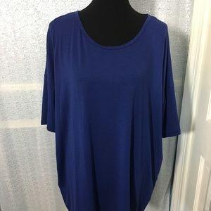 LuLaRoe Irma High/Low Top Dark Blue Size XL